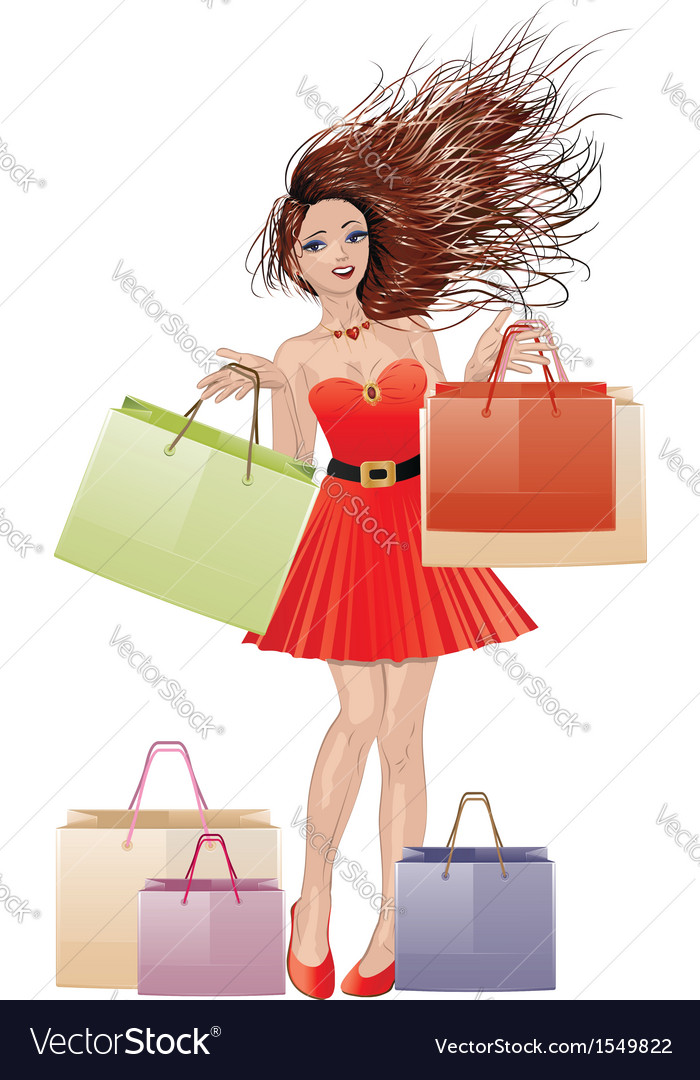 Girl in red with shopping bags vector | Price: 3 Credit (USD $3)