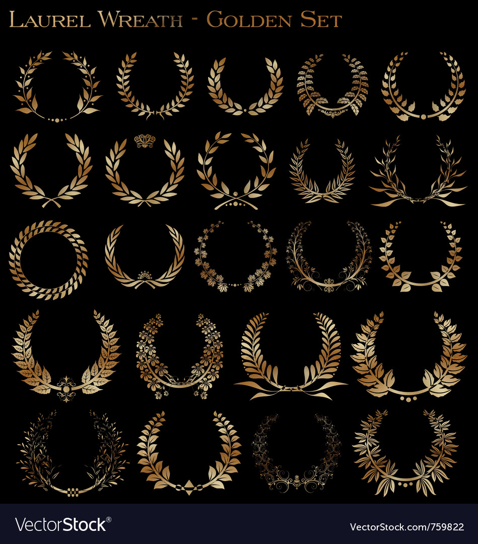 Laurel wreath - golden set vector | Price: 1 Credit (USD $1)