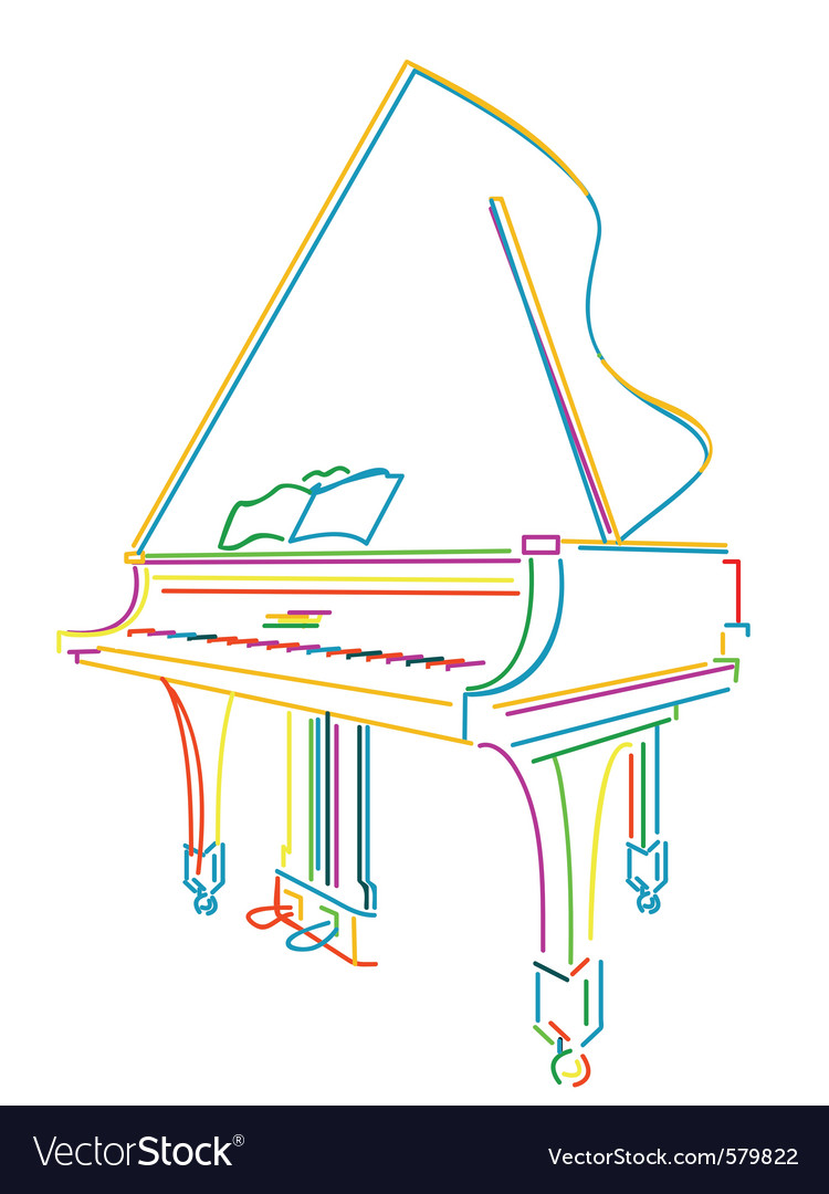 Neon piano vector | Price: 1 Credit (USD $1)