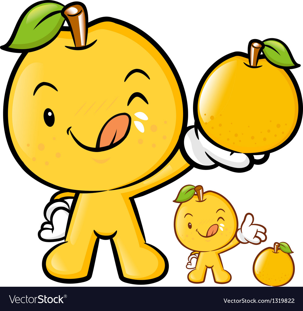 Pear mascot the right hand is holding a big fruit vector | Price: 1 Credit (USD $1)