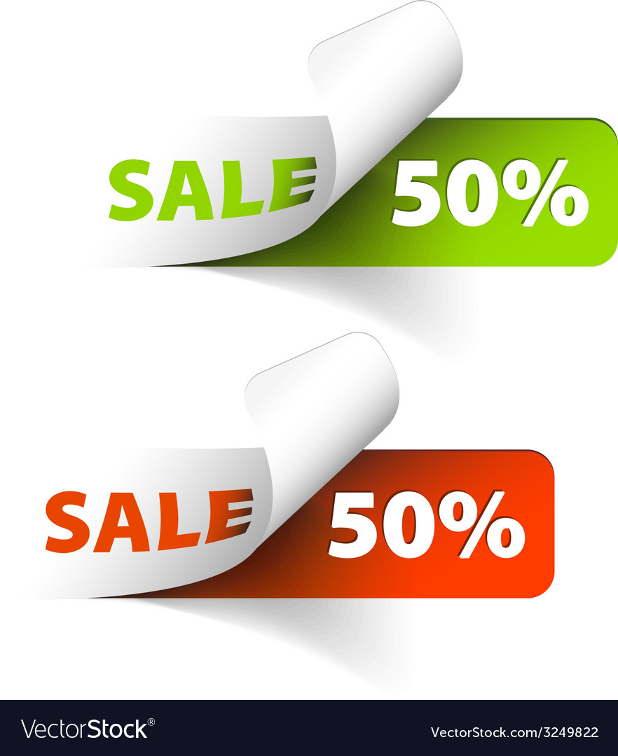Red and green sale coupons 50 discount vector   Price: 1 Credit (USD $1)