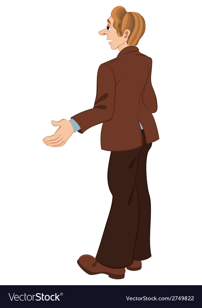 Retro hipster man standing in brown jacket vector | Price: 1 Credit (USD $1)