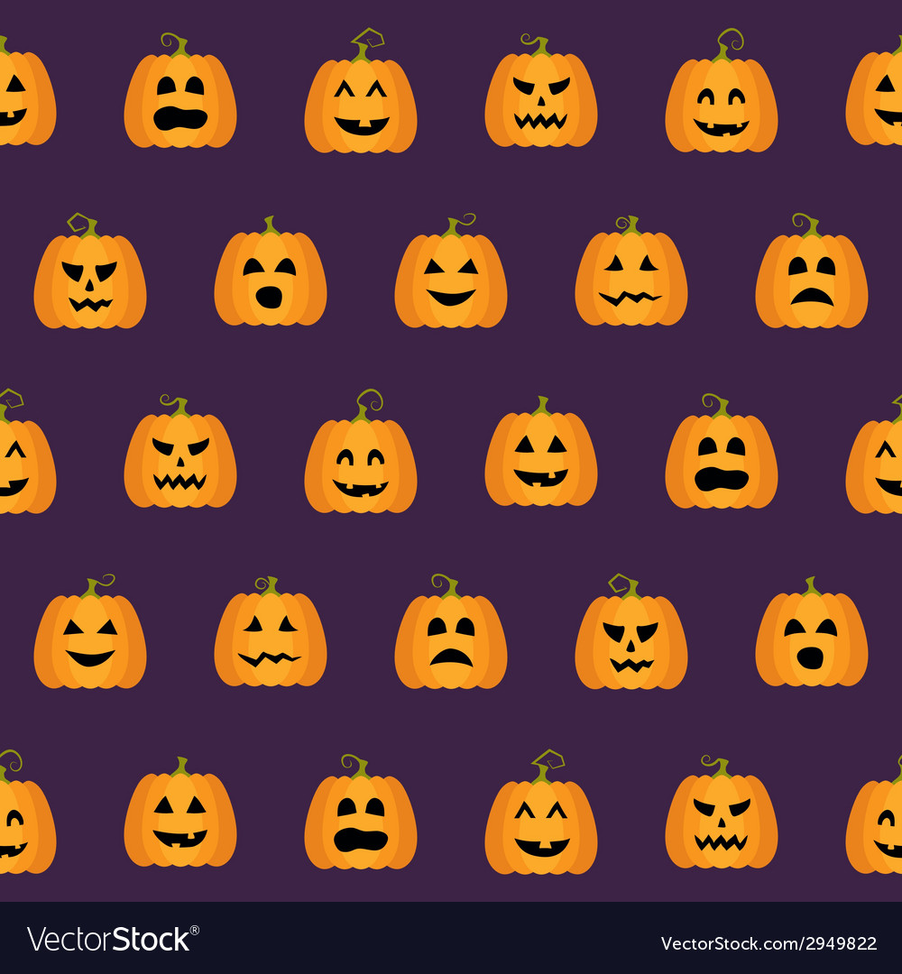 Seamless halloween pumpkin faces pattern vector | Price: 1 Credit (USD $1)