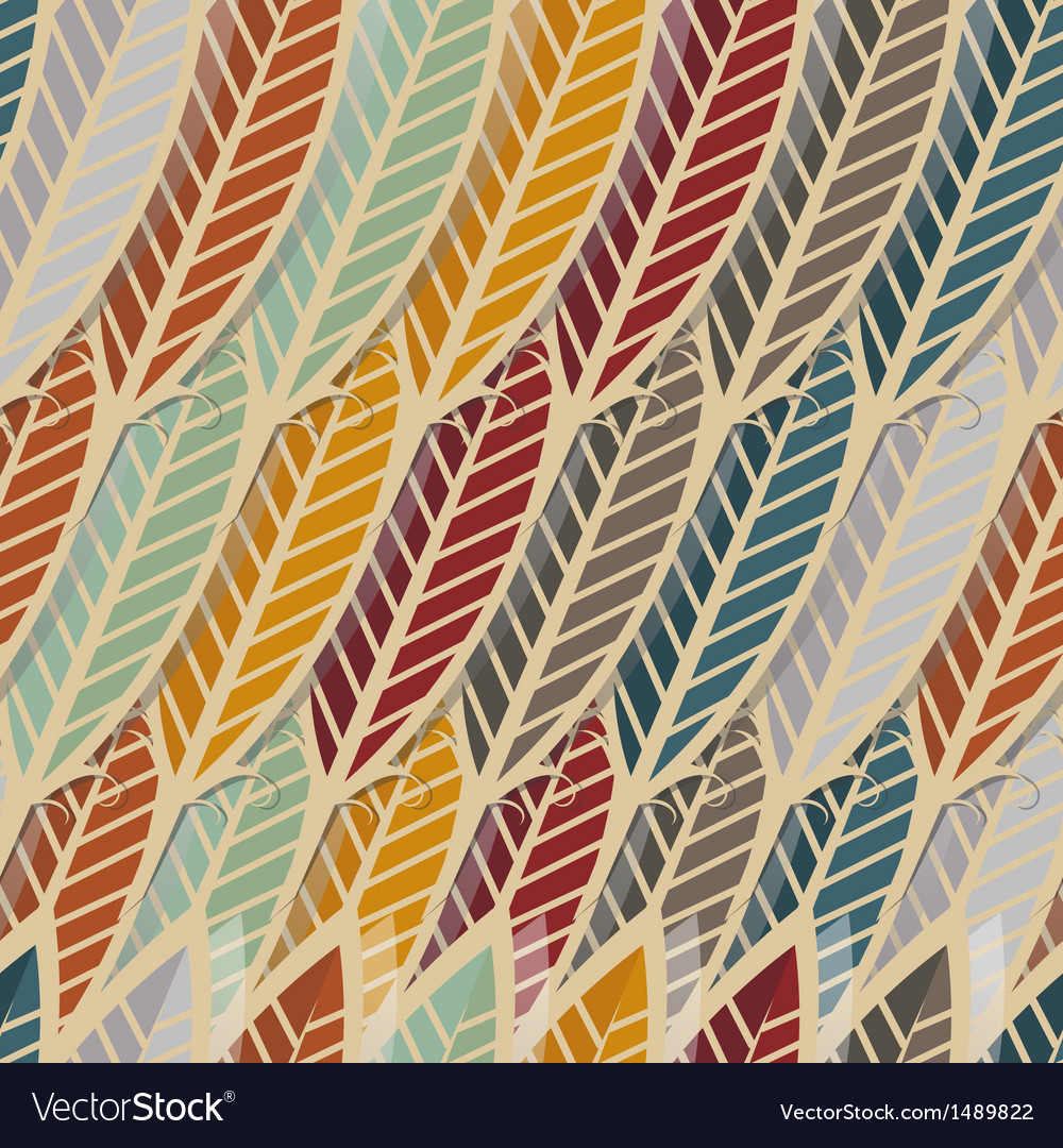 Seamless pattern with abstract feathers vector | Price: 1 Credit (USD $1)