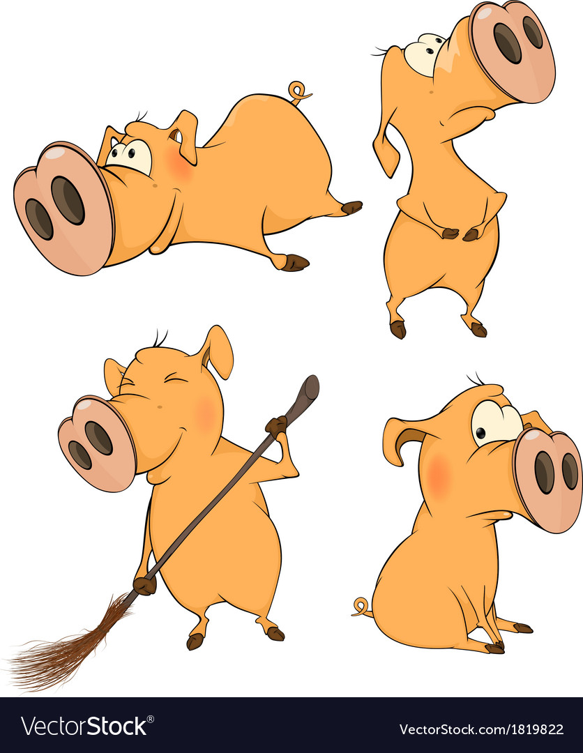 Set of cheerful pigs cartoon vector | Price: 1 Credit (USD $1)