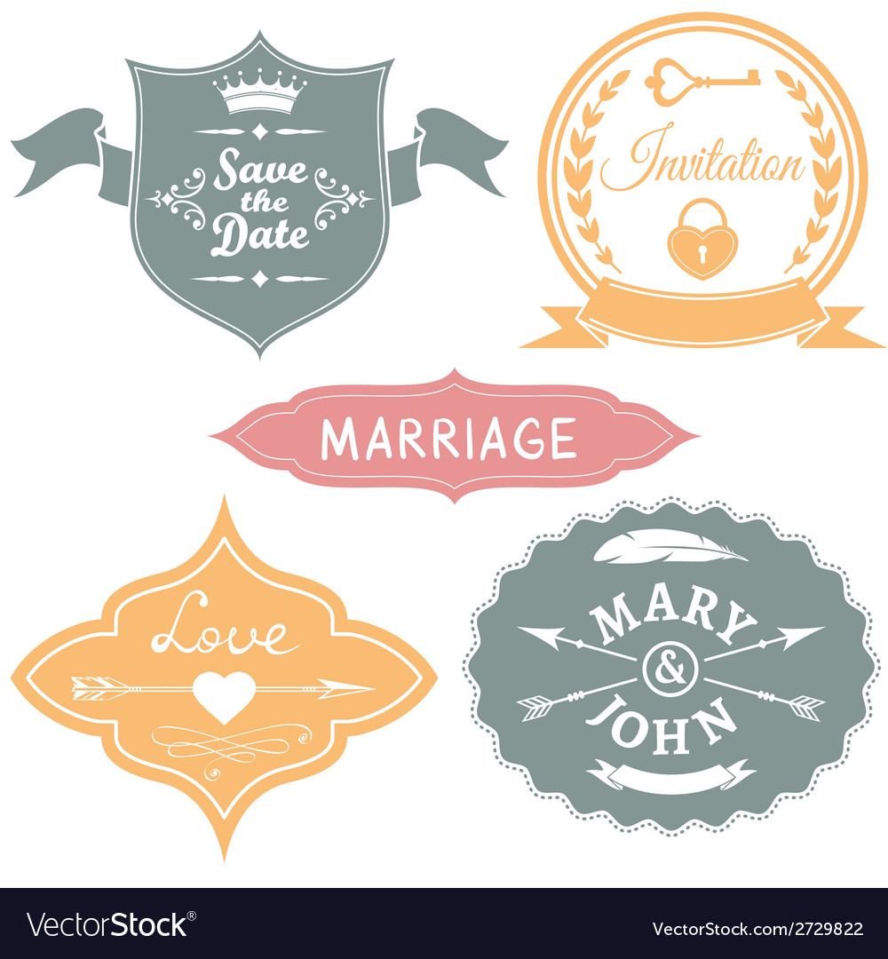 Set of vintage wedding labels for invitations vector | Price: 1 Credit (USD $1)