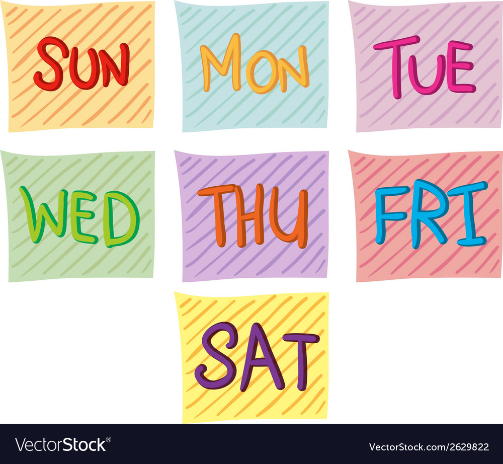 Seven days of the week vector | Price: 1 Credit (USD $1)