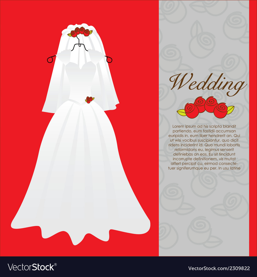 Wedding dress wedding invitation vector | Price: 1 Credit (USD $1)