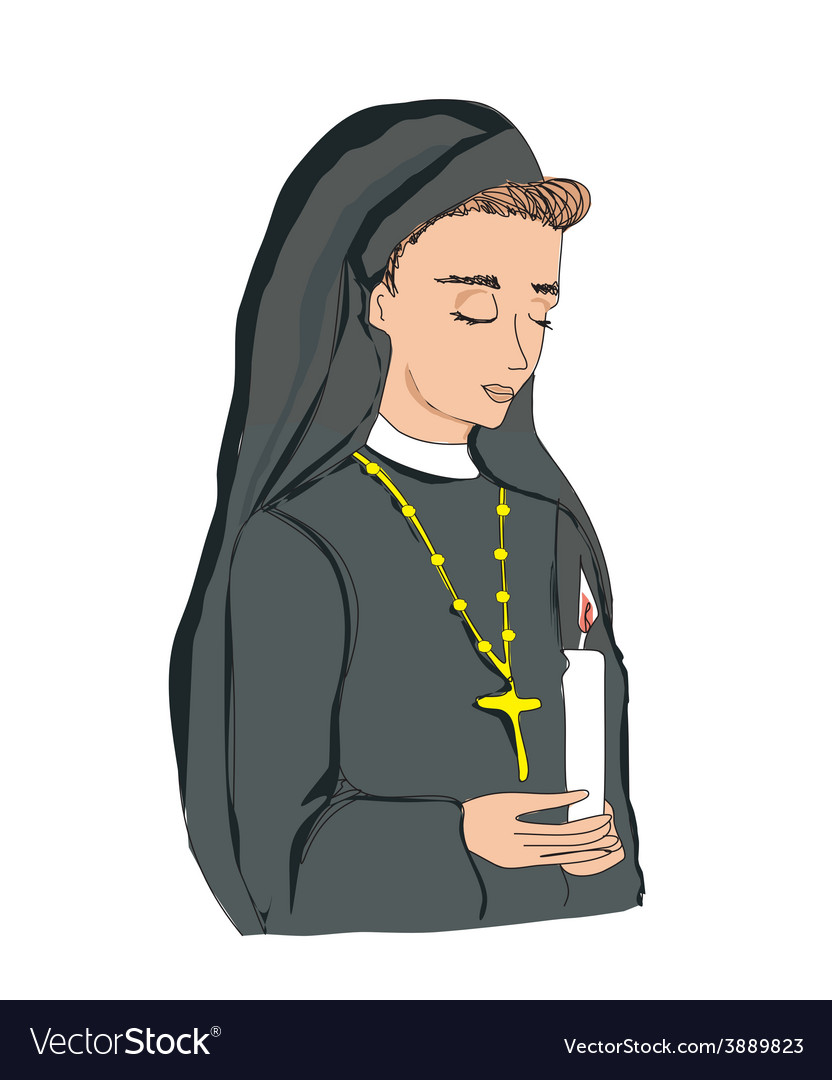 Doodle of nun vector | Price: 1 Credit (USD $1)