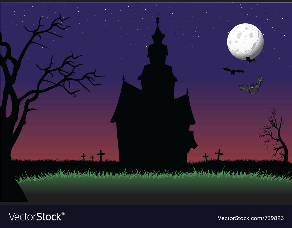 Halloween haunted house background vector | Price: 1 Credit (USD $1)