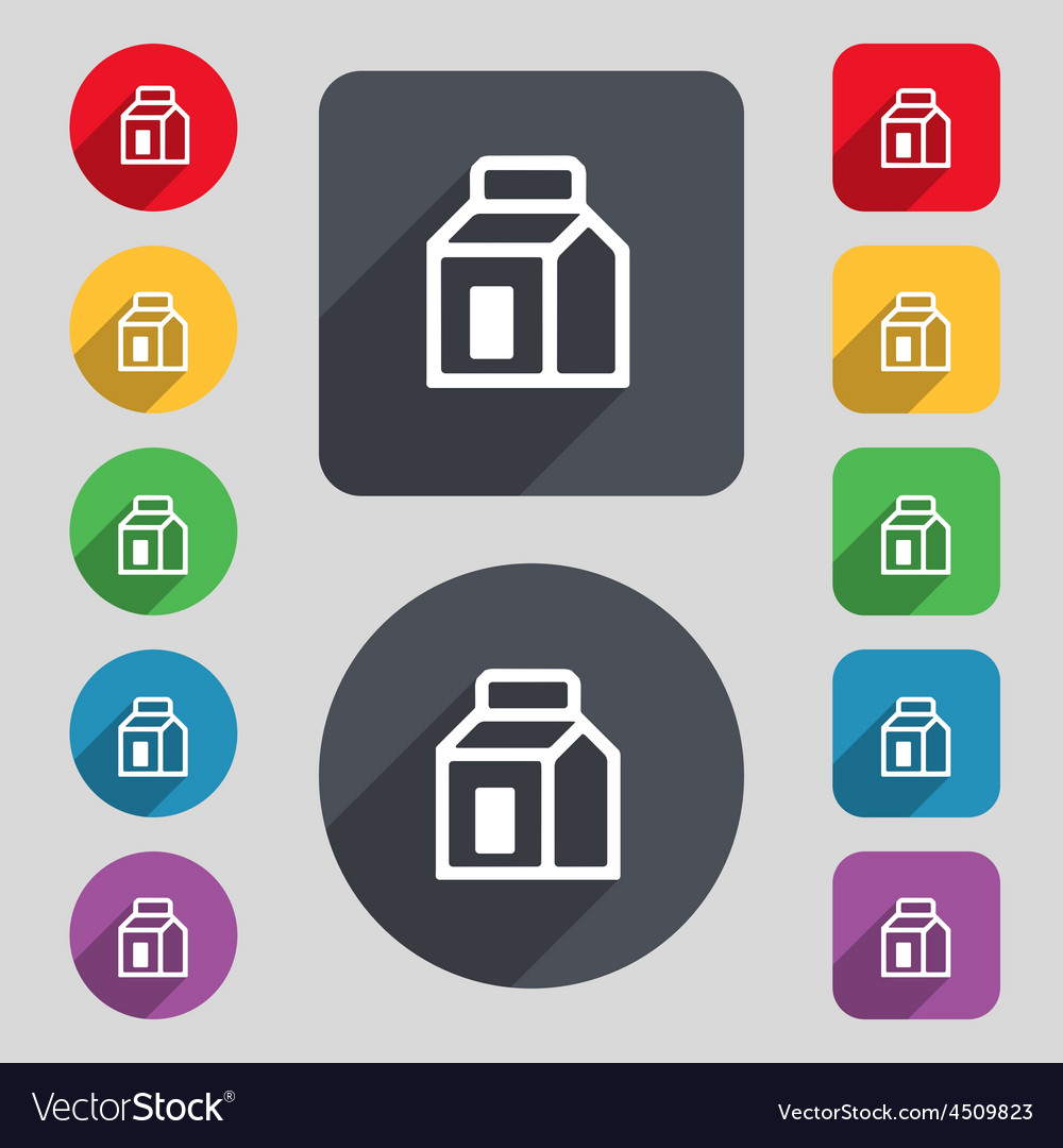 Milk juice beverages carton package icon sign a vector | Price: 1 Credit (USD $1)
