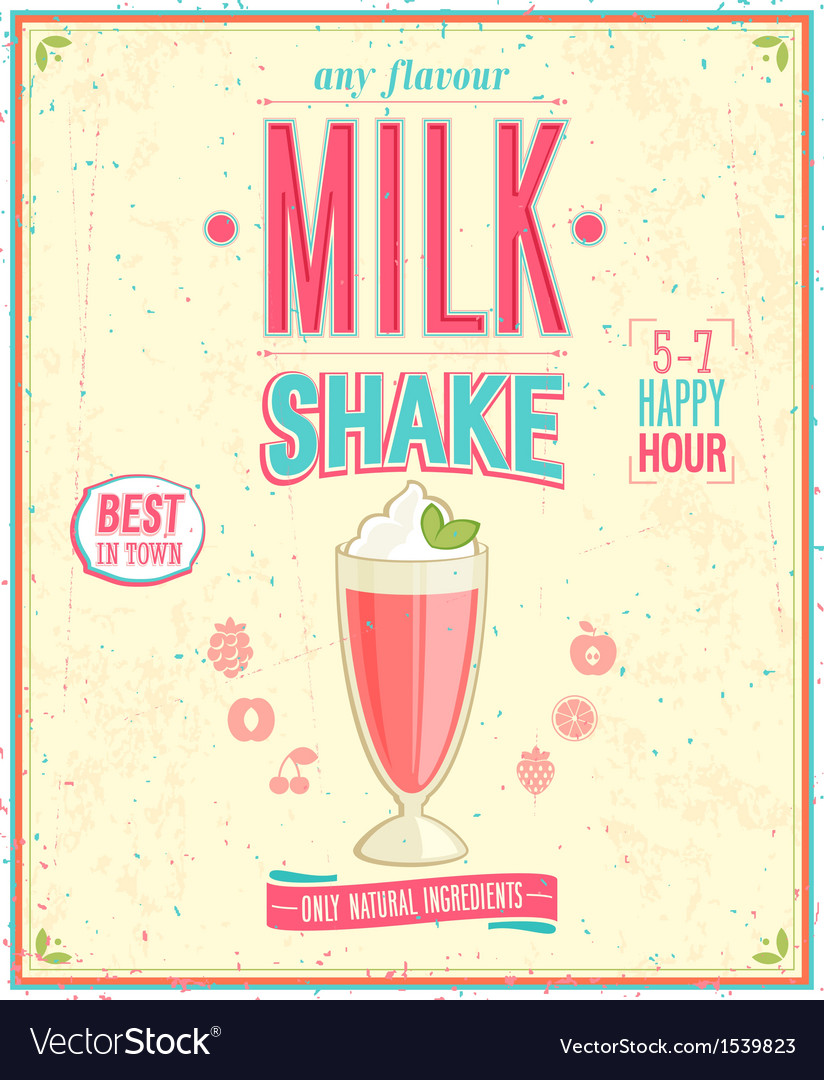 Milk shake poster vector | Price: 1 Credit (USD $1)