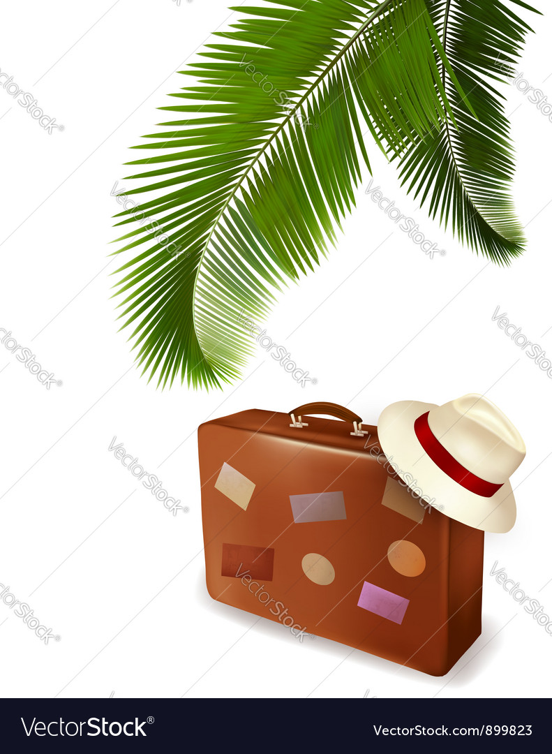 Palm leaves and travel suitcase vector | Price: 1 Credit (USD $1)