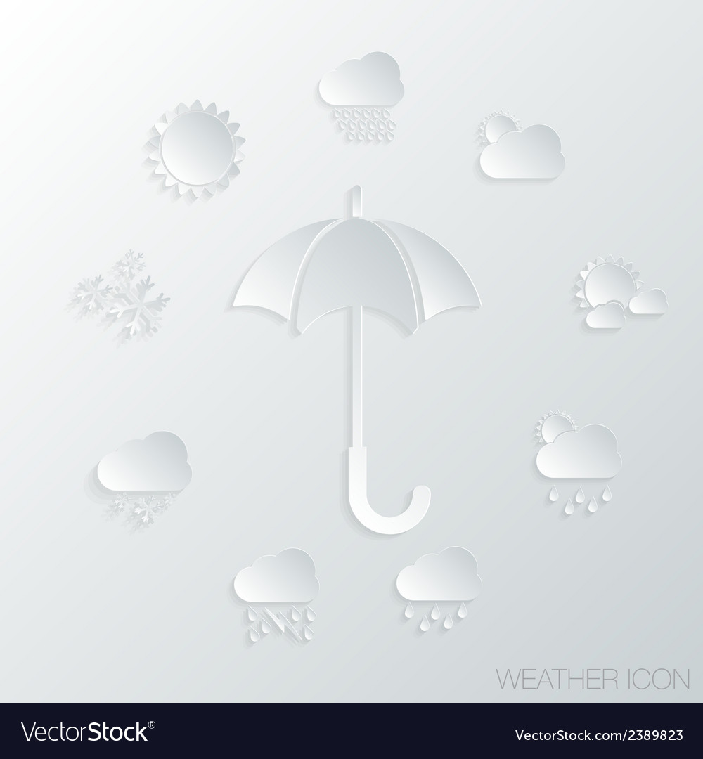 Paper icon umbrella and weather symbols vector | Price: 1 Credit (USD $1)