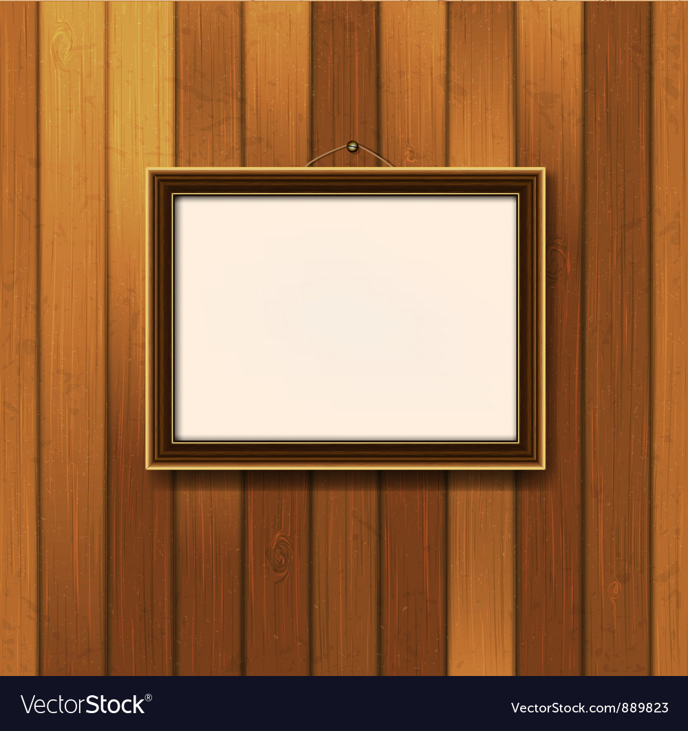 Picture frame on old wooden wall vector | Price: 1 Credit (USD $1)