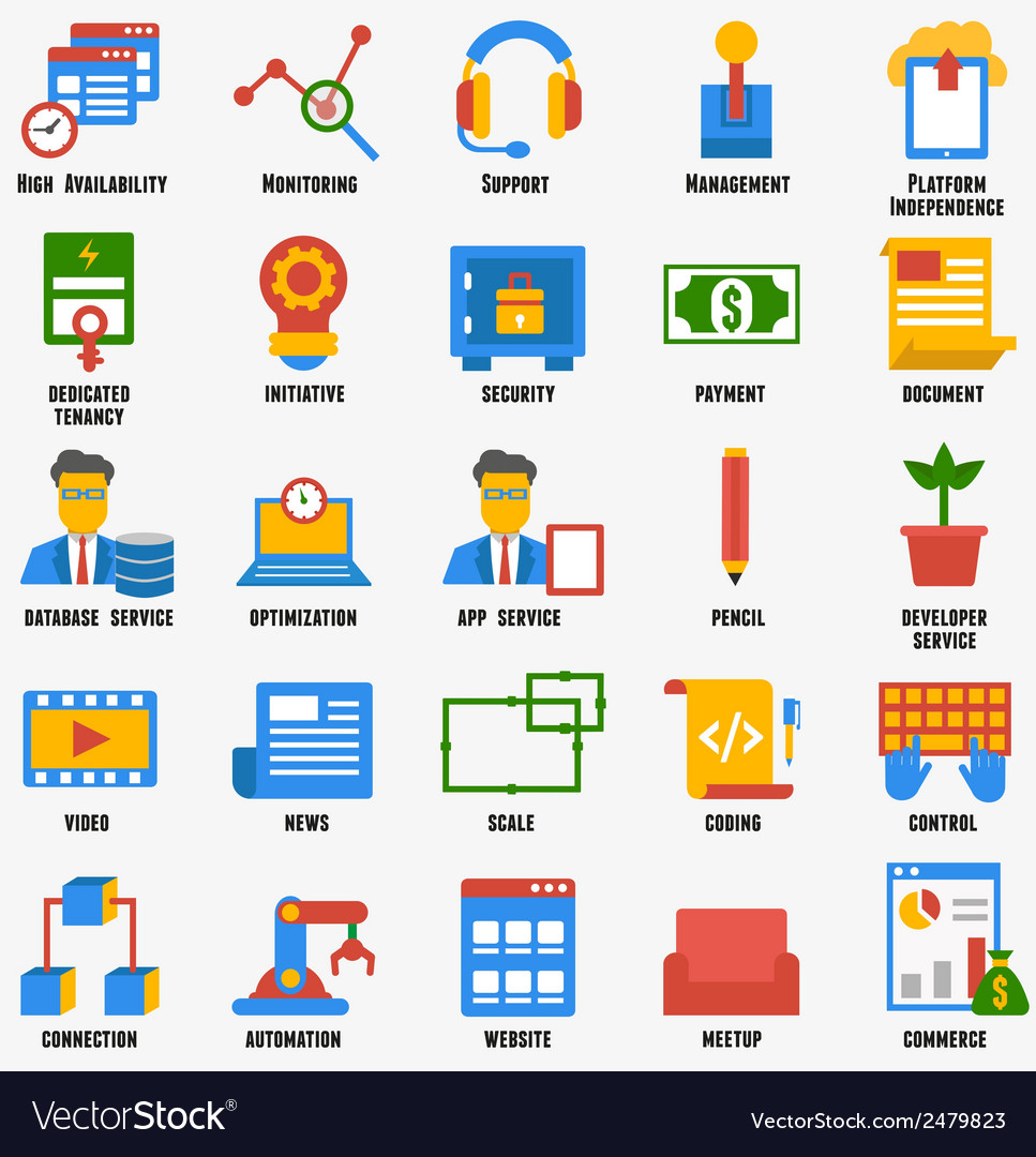 Set of business and development icons vector | Price: 1 Credit (USD $1)
