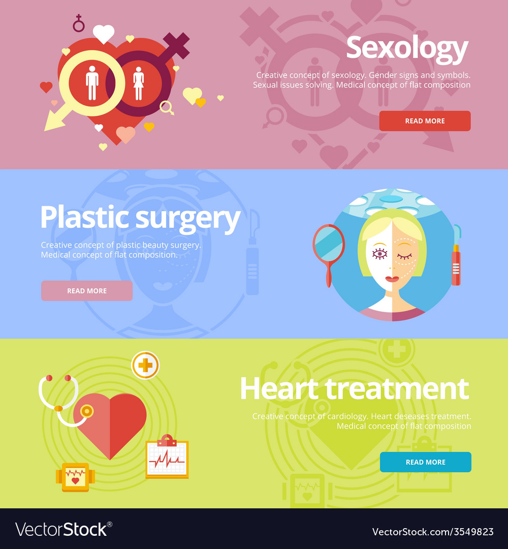 Set of flat design concepts for sexology plastic vector | Price: 1 Credit (USD $1)