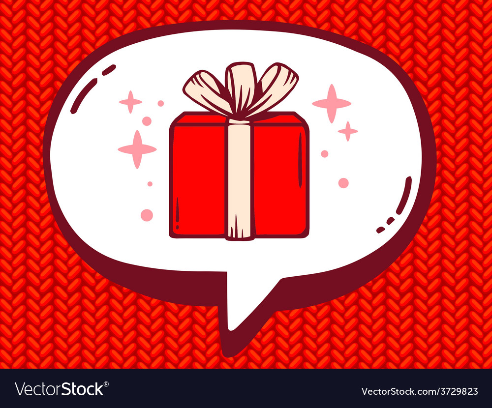 Speech bubble with icon of gift box on re vector | Price: 1 Credit (USD $1)