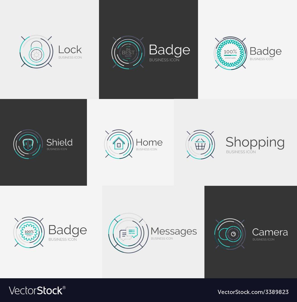 Thin line neat design logo collection vector
