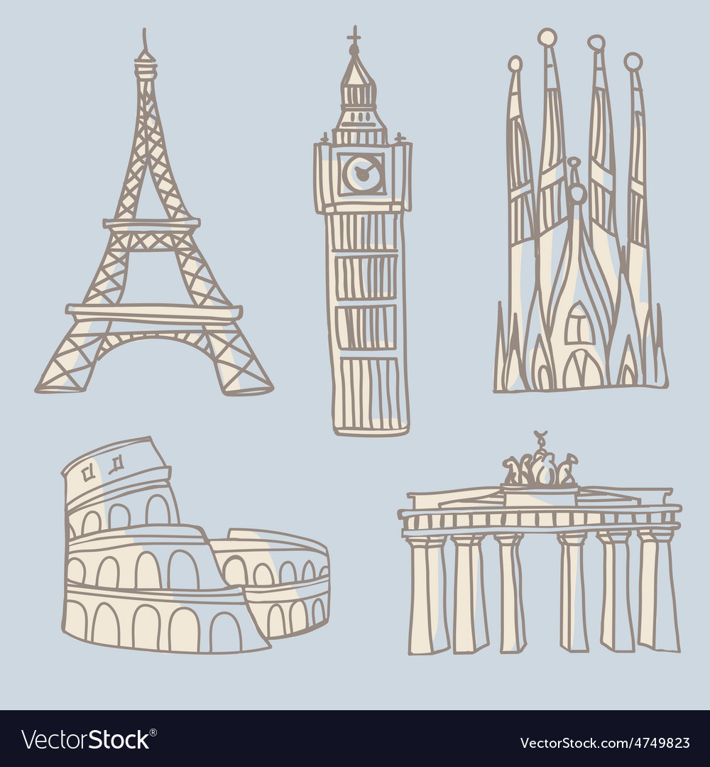 Travel landmarks doodle vector | Price: 1 Credit (USD $1)