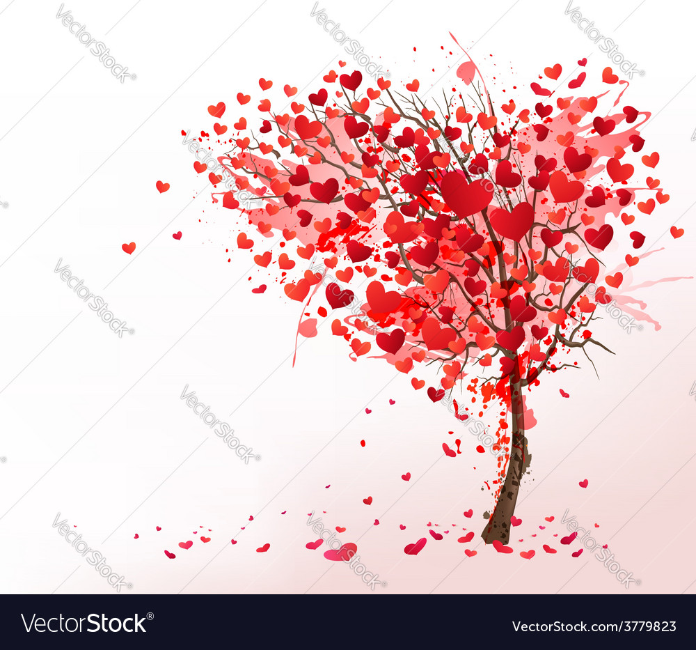 Valentine background with heart shaped tree vector | Price: 3 Credit (USD $3)