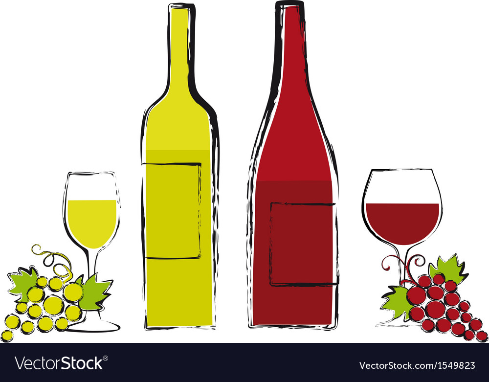Wine bottles with glasses and grapes vector | Price: 1 Credit (USD $1)