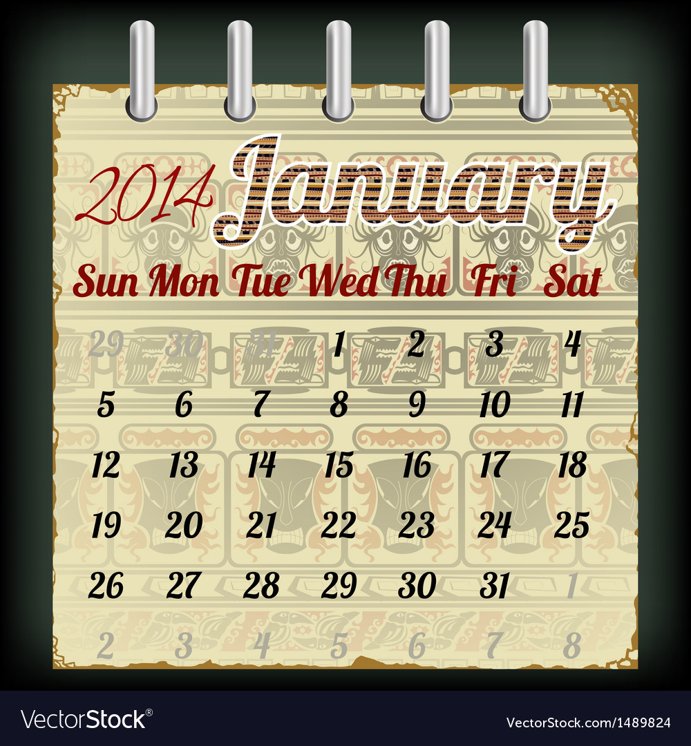 Calendar for january 2014 vector | Price: 1 Credit (USD $1)