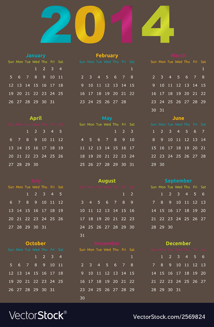 Calendar year template vector | Price: 1 Credit (USD $1)