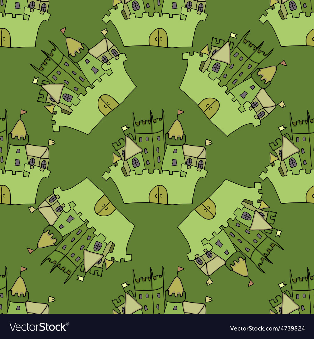 Castle seamless pattern flag fortress vector | Price: 1 Credit (USD $1)