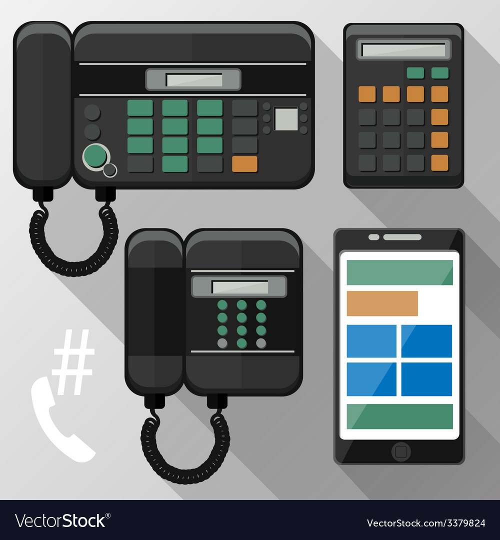 Cellphones landline phone and smartphone vector | Price: 1 Credit (USD $1)