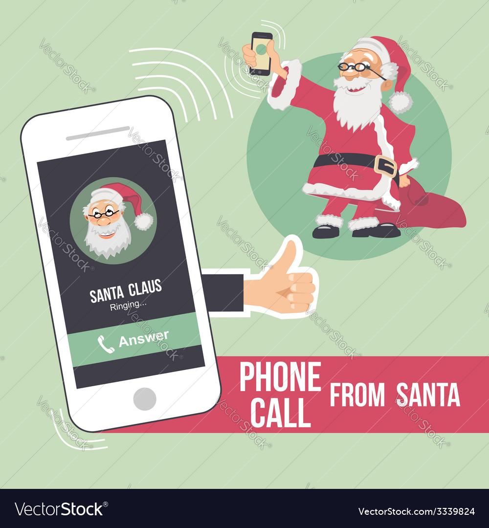 Christmas phone call from santa vector | Price: 1 Credit (USD $1)