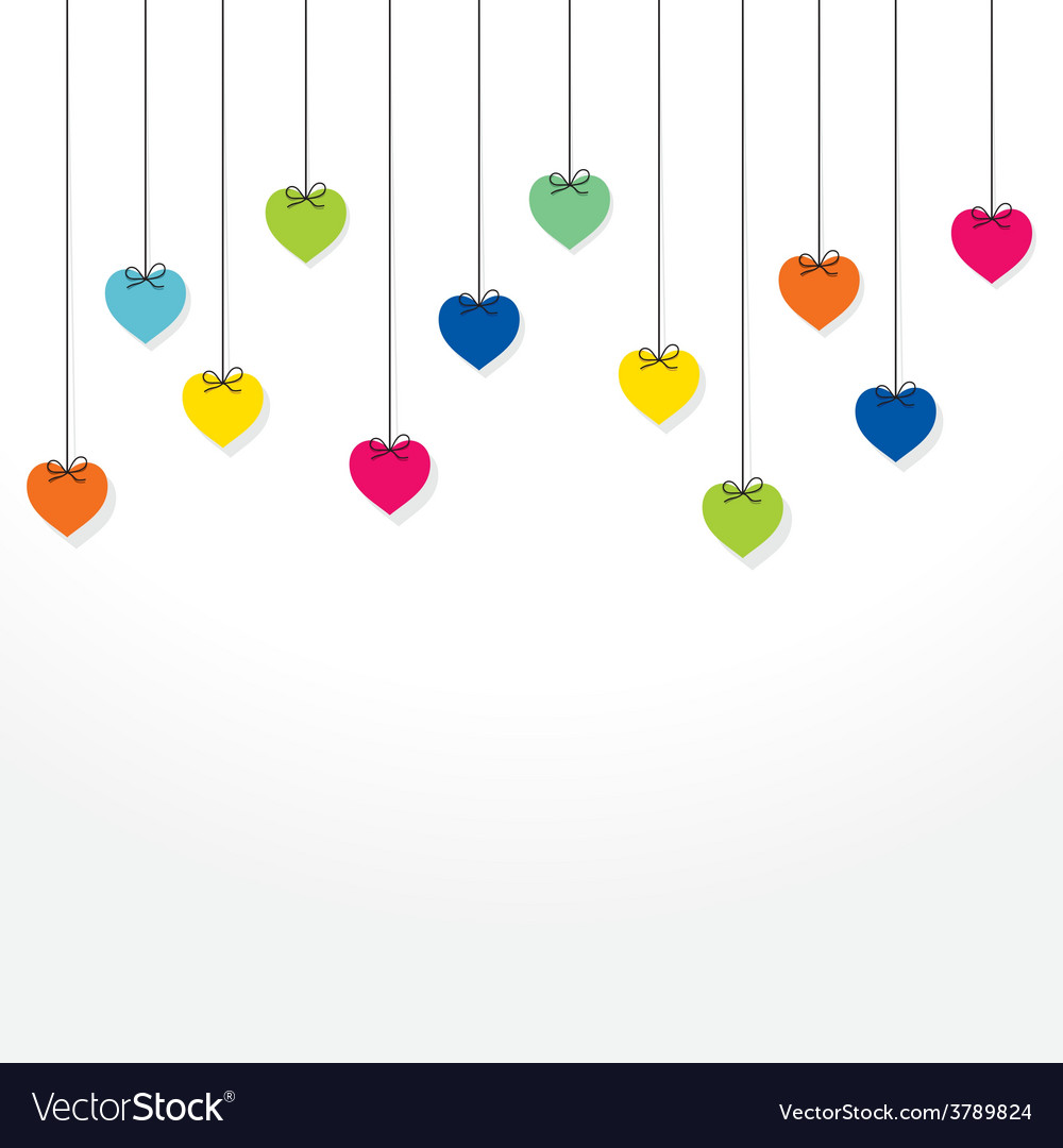 Colorful heart hang background design vector | Price: 1 Credit (USD $1)