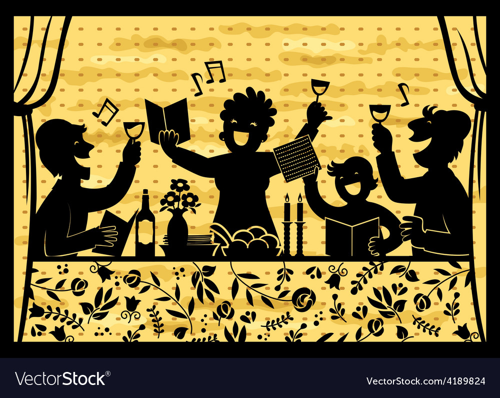 Family celebrating passover vector | Price: 1 Credit (USD $1)
