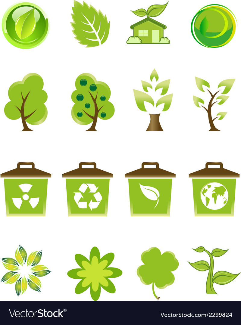Green nature icons set vector | Price: 1 Credit (USD $1)