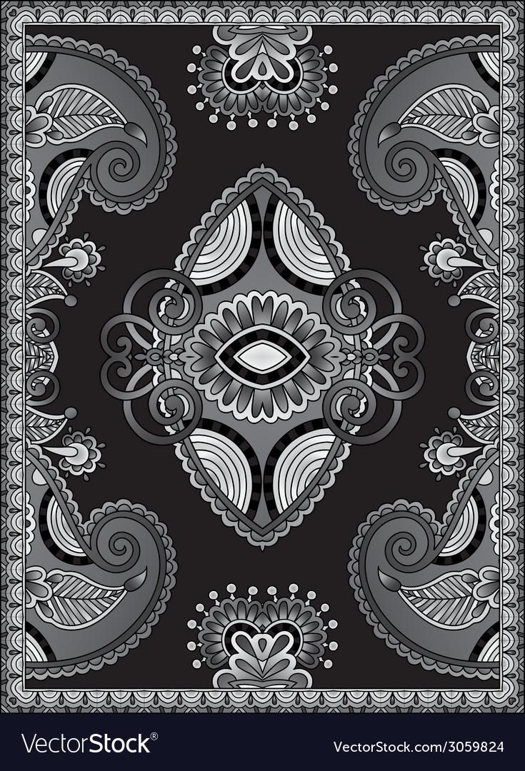 Grey ukrainian oriental floral ornamental carpet vector | Price: 1 Credit (USD $1)