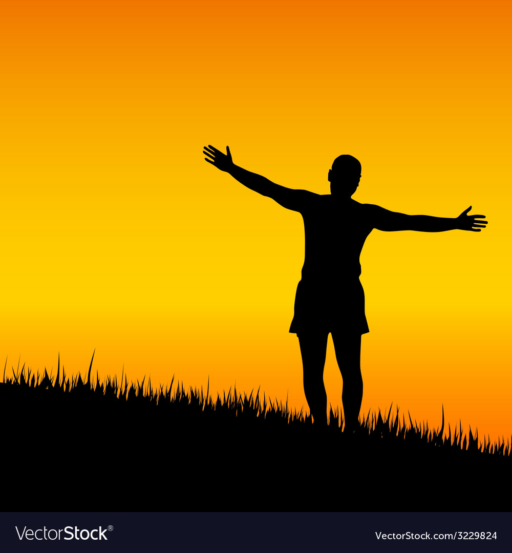 Man stand with open arms at sunset vector | Price: 1 Credit (USD $1)