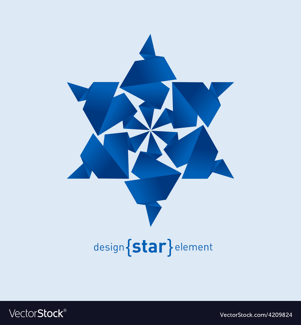 Origami snowflake from paper on white background vector | Price: 1 Credit (USD $1)