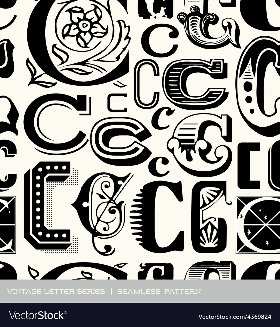Seamless vintage pattern letter c vector | Price: 1 Credit (USD $1)