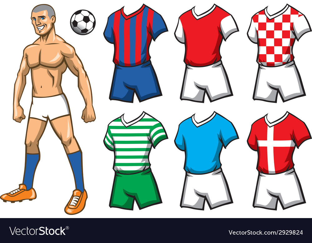 Soccer player with various jersey vector | Price: 3 Credit (USD $3)