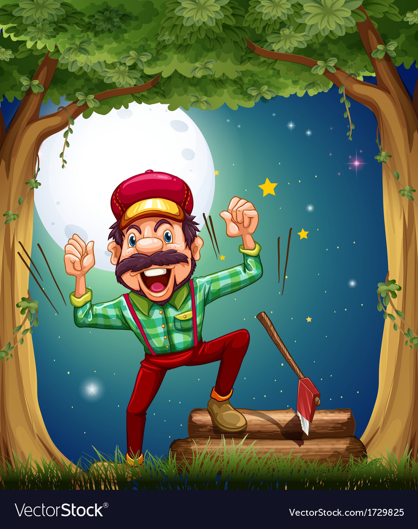A very cheerful lumberjack at the forest vector | Price: 3 Credit (USD $3)