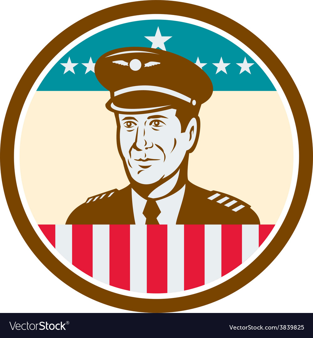 Airline pilot aviator usa flag circle retro vector | Price: 1 Credit (USD $1)
