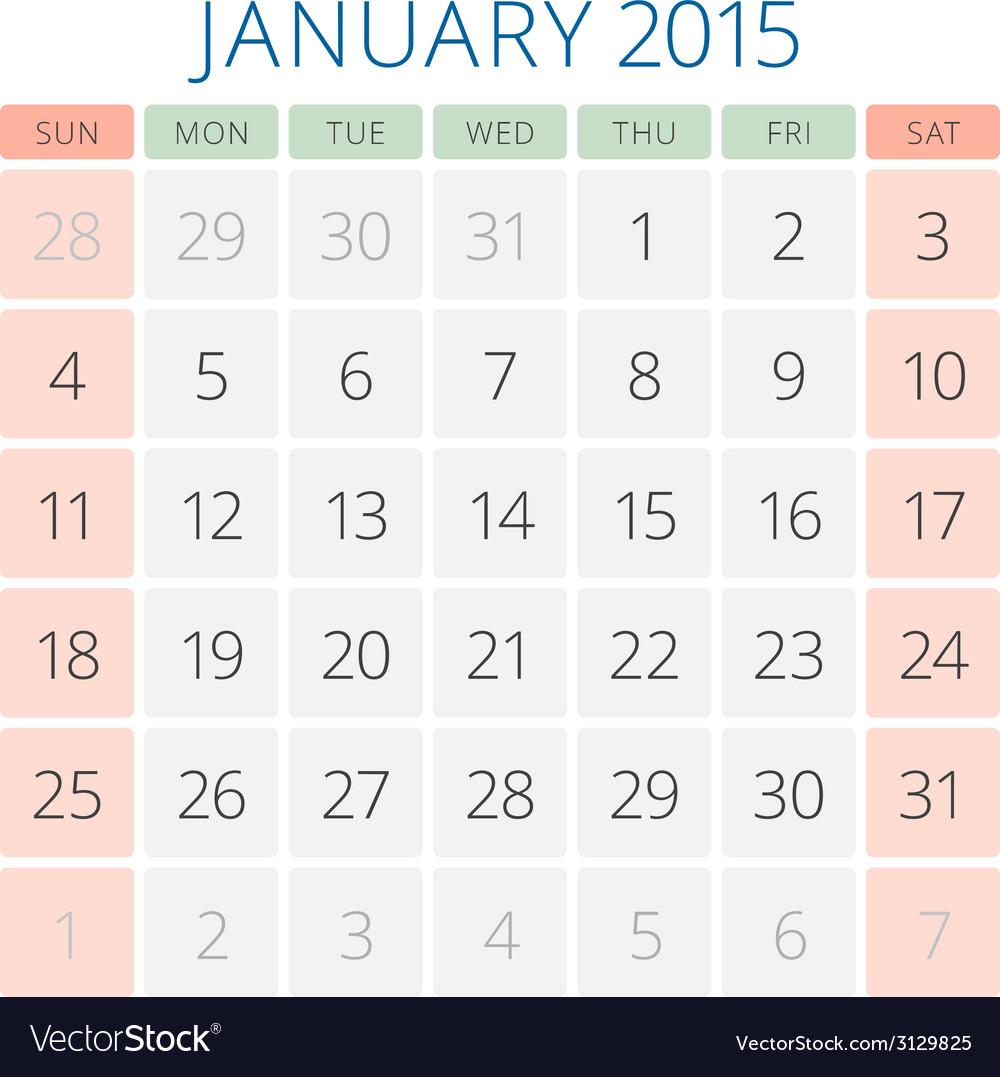 Calendar 2015 january design template vector | Price: 1 Credit (USD $1)