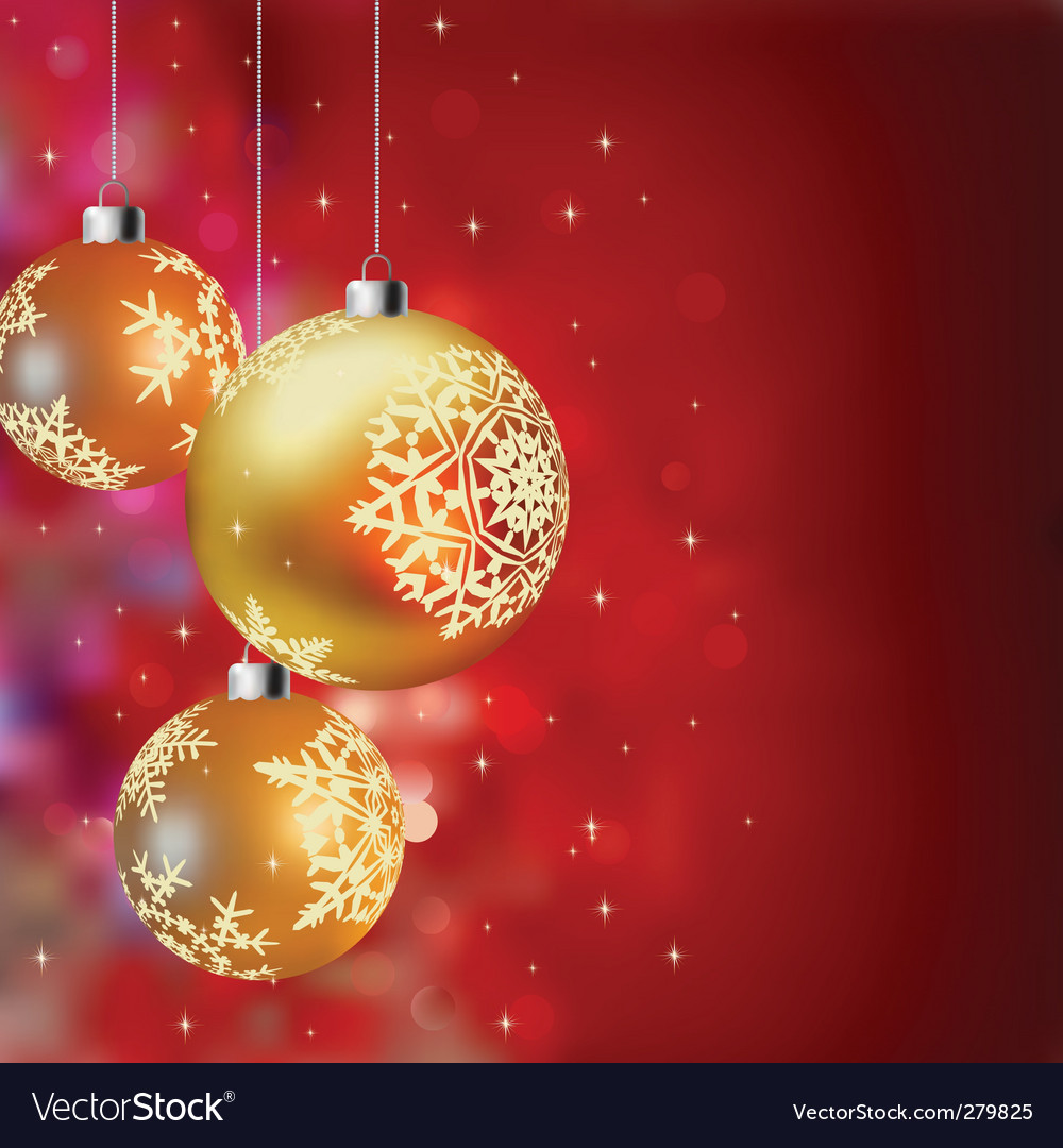 Christmas background with gold baubles vector | Price: 1 Credit (USD $1)