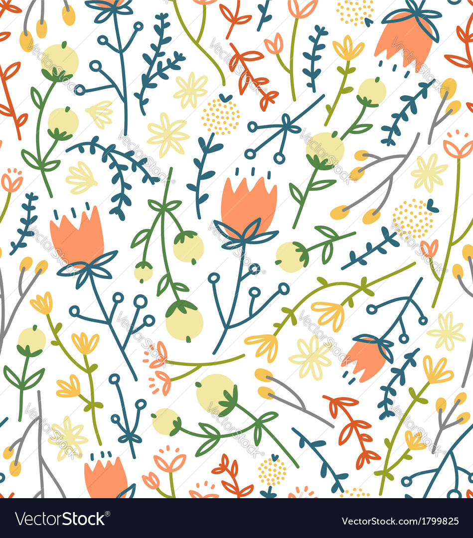 Field flowers doodle pattern 3 vector | Price: 1 Credit (USD $1)