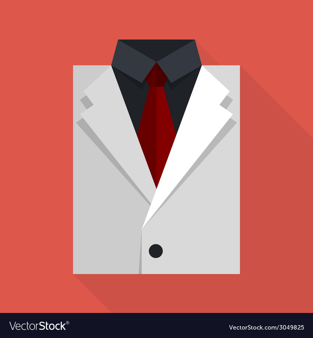 Flat business jacket and tie white color vector | Price: 1 Credit (USD $1)