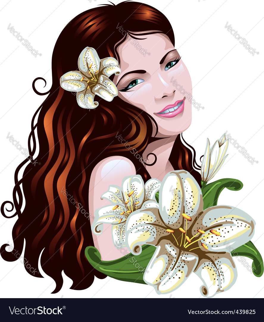 Girl with flowers vector | Price: 3 Credit (USD $3)