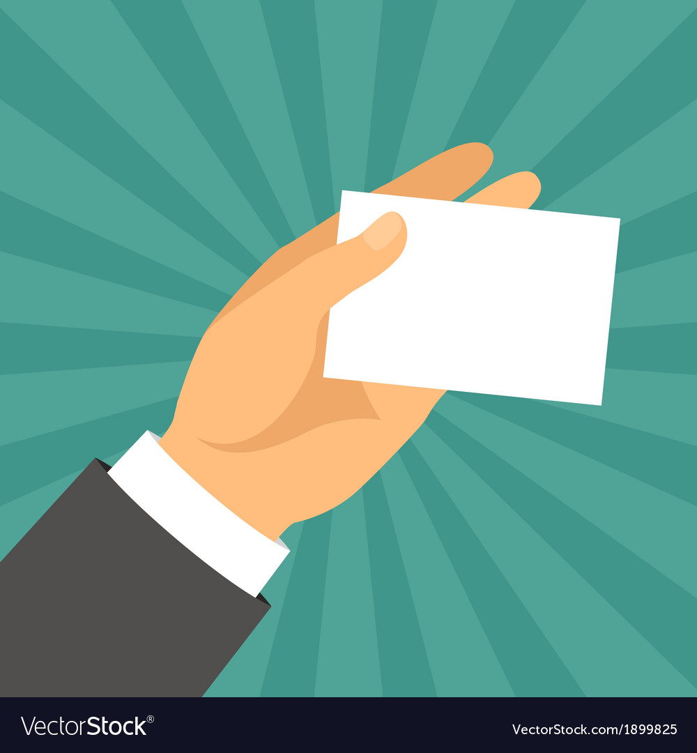 Hand holding business card in flat design style vector | Price: 1 Credit (USD $1)