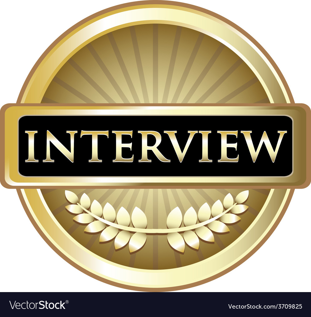 Interview gold label vector | Price: 1 Credit (USD $1)