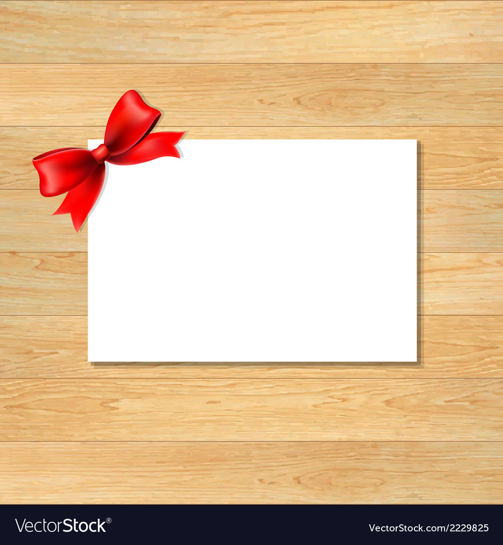 Red bow and blank gift tag with wooden wallpaper vector | Price: 1 Credit (USD $1)