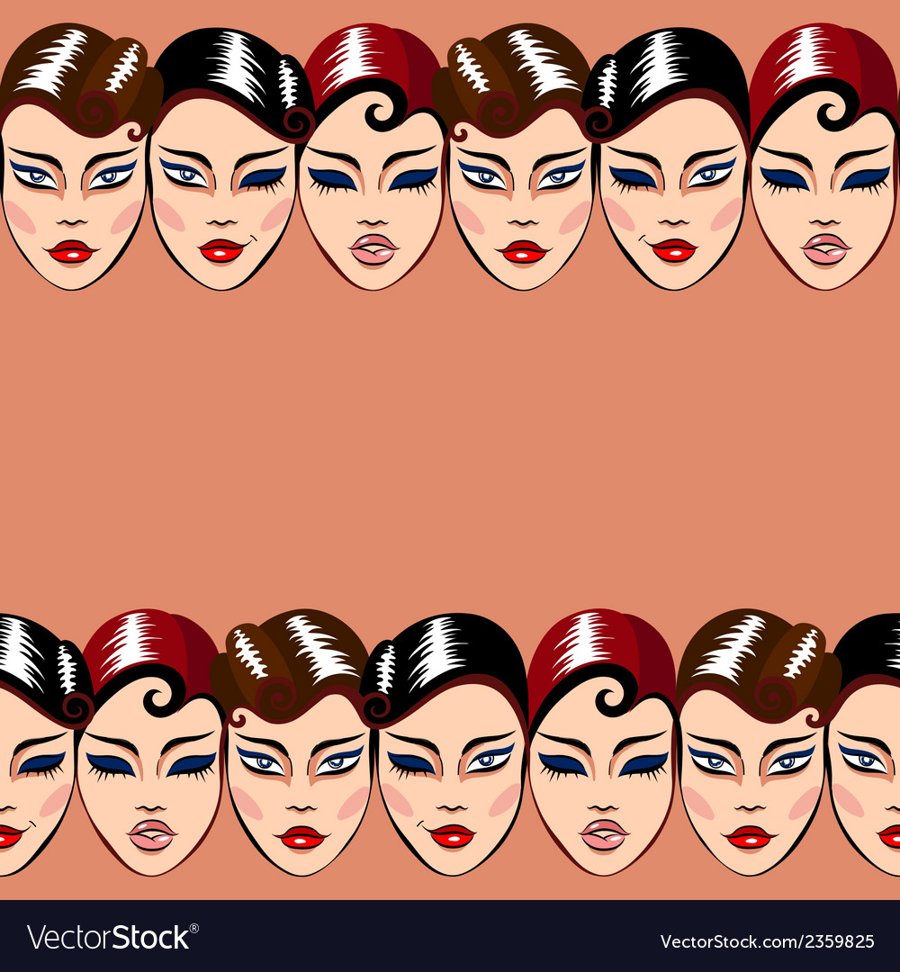 Seamless pattern with woman faces vector | Price: 1 Credit (USD $1)
